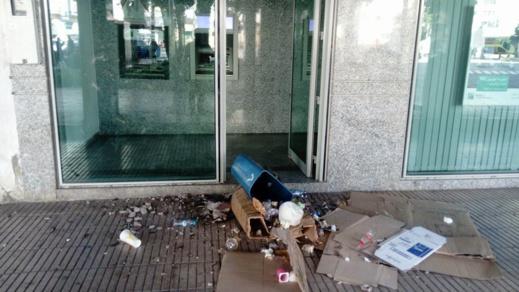 +صور: تخريب وكالة بنكية في قلب الناظور
