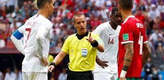 """– صافرة """"أمريكية"""" تفسد تقنية  (VAR) """"المساعدة التقنية للحكام"""" في مباراة المغرب والبرتغال."""