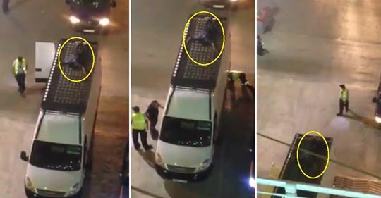 فيديو/شاهدوا كيف نجح مهاجر سري في ولوج الباخرة رغم التفتيش الصارم