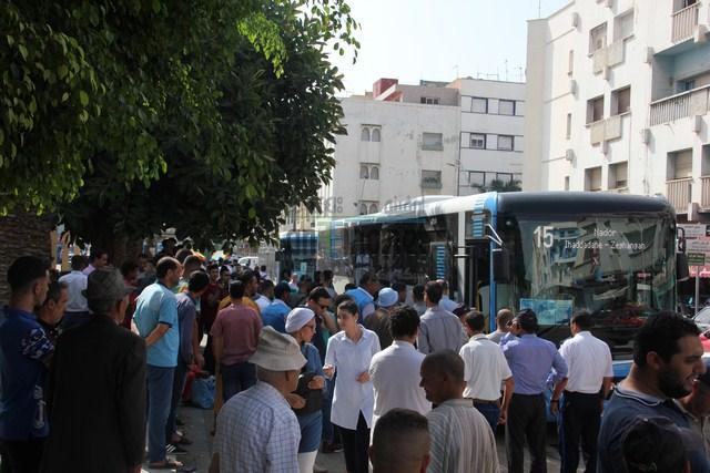 + صور و فيديو : عمال النقل الحضري التابعين لشركة فيكتاليا في اضراب مفتوح يومه الاثنين 17 شتنبر