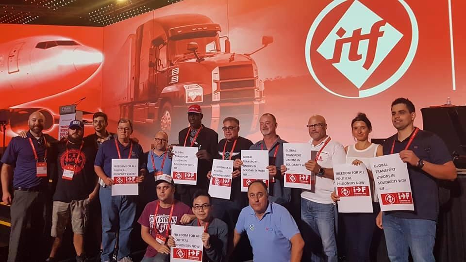 + صور :نقابات في مؤتمر الفدرالية العمالية الدولية للنقل بسنغافورة تتضامن مع معتقلي حراك الريف