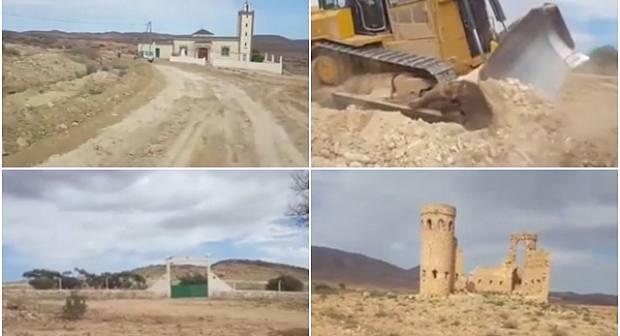 """صور: بعد """"لخناق"""".. مجلس حاسي بركان يشرع في إصلاح طريق """"إمختارن"""""""