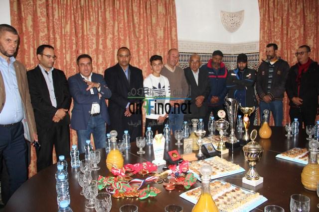 """الرحموني يستقبل البطل الناظوري هشام بقالي بعد إحرازه لقب بطولة """"ايندهوفن"""" بهولندا"""