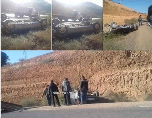 بالصور:انقلاب سيارة بين قرية اركمان وراس الماء ونجاة السائق بأعجوبة